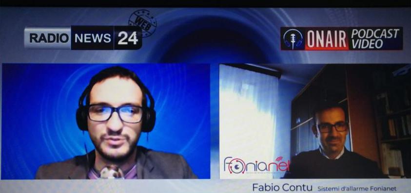 Radio News 24 intervista l'Ing.Fabio Contu, Direttore Tecnico di Fonianet Telecomunicazioni su Videosorveglianza e Sistemi Integrati di Sicurezza